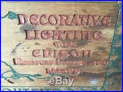 Vintage/ Antique Christmas General Electric Edison Wood Miniature Light Box