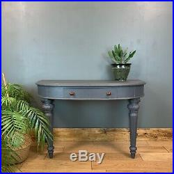 Vintage Antique Demi Lune Table Sideboard Upcycled Console Rustic Painted