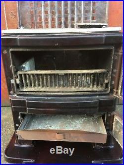 Vintage Antique French Cast Iron Enamel CHAPPEE Stove Wood Log Burner