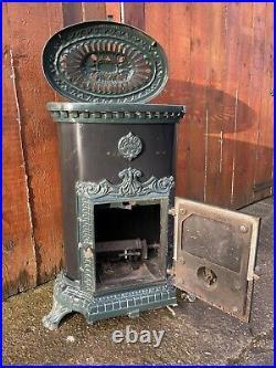 Vintage Antique GAS GODIN french stove wood Log Burner Style Fire Enamel