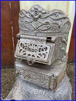 Vintage Antique LARGE Cast Iron Enamel Multi Fuel stove Log Wood Burner