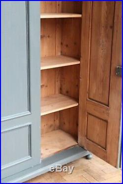 Vintage Antique Painted Larder Linen Press Cupboard Armoire Cabinet