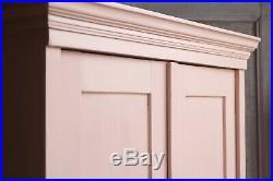 Vintage Antique Pink Painted Larder Linen Press Cupboard Armoire Cabinet