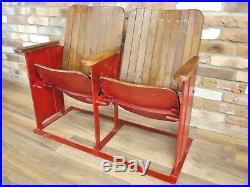 Vintage Antique Refurbished Home Indoor Outdoor Twin Cinema Seats