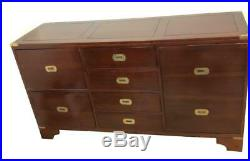 Vintage Antique Style Campaign Sideboard With Brass Corners and Handles