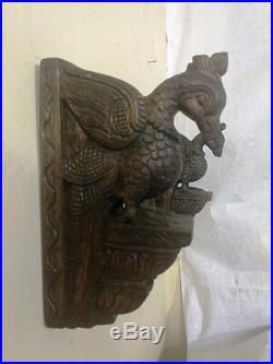 Vintage Bird Peacock Wooden Corbel Bracket Pair Wall Hanging Parrot Sculpture