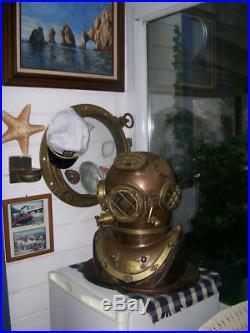 Vintage Brass & Copper Diving Helmet Table Divers Decor Scuba SCA US Navy Mark V