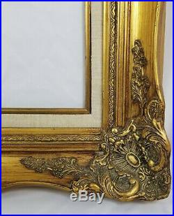 Vintage Carved Gilded 4 Wide Gold Picture Frame For 16 x 20 Inch Painting
