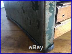 Vintage Distressed Steel Industrial Coffee Table Wood Drawers Chest Haberdashery