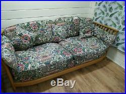Vintage Ercol Renaissance Low Back 3 Seat Sofa Settee Blonde Wood Mid Century