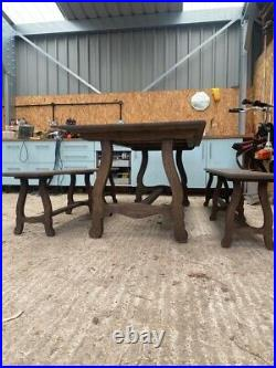 Vintage Farmhouse Antique Large Wooden Dining Table and Benches, 6/8 Seater