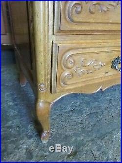 Vintage French carved golden oak chest of 4 drawers louis xv style