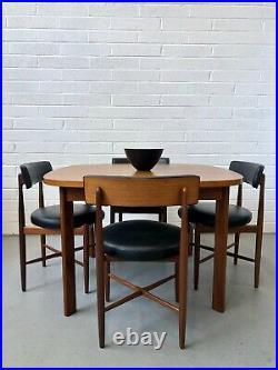 Vintage G Plan Fresco Teak Danish Dining Table & 4 Chairs. Retro Kofod Larsen