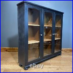 Vintage Glazed Cabinet/ Black Cocktail Cabinet /China Cupboard /Painted Bookcase