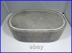 Vintage Gray Shagreen Oval Box, Great Table Fare