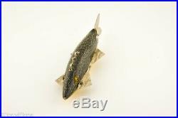 Vintage Heddon Ice Decoy Minnow Antique Fishing Lure Green Crackle Back 1923-27