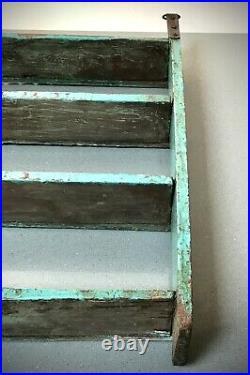 Vintage Indian Wooden Shelves. Antique, Art Deco. Distressed Turquoise & Jade