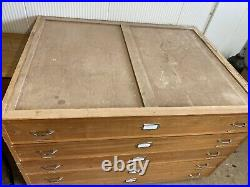 Vintage Industrial Midcentury Plan Chest Architects Drawers Hand Made