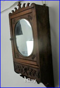 Vintage Kitchen Apothecary Medicine Bathroom Wall Cabinet Oval Mirror Gorgeous