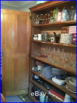 Vintage Large Wooden School Cupboard with Shelves Kitchen/ Larder / Hall