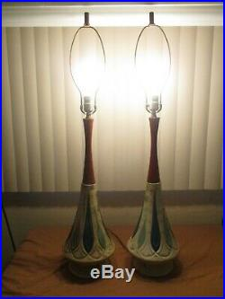 Vintage Mid Century Danish Modern Teak Wood & Ceramic Table Lamps 38 Tall SET