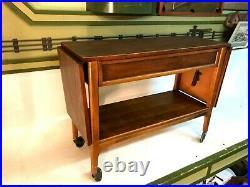 Vintage Mid Century Modern MCM Lane Danish Buffet Drop Leaf Server Cart Table