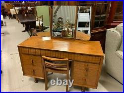 Vintage Mid Century Walnut Dressing Table & Chair made by Heals