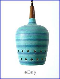 Vintage Mid Centuy Danish Modern Ceramic Pottery Pendant Lamp Bitossi Martz Era