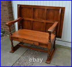 Vintage Oak Monks Bench Hall Seat Settle Pew Drawer Solid Wood Quality
