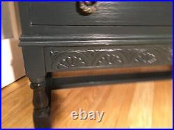 Vintage Oak Writing Bureau 3 Drawers Painted FarrowAndBall Black Blue& Armchair