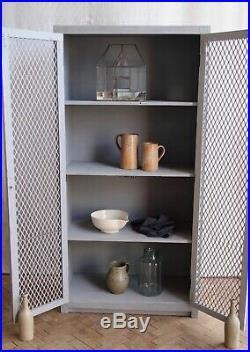 Vintage Painted Mesh Front Industrial Larder Cupboard Cabinet