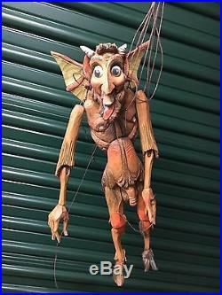 Vintage RARE String Puppet Marionette Carved Wooden SATYRE Adult Appendage 18