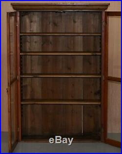 Vintage Restored Solid Pine Glass Doored Library Bookcase Also Hanging Cabinet
