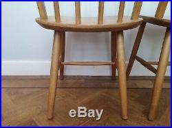Vintage Retro Mid Century Windsor High Stickback Dining Chairs x 2 Quaker 1970s