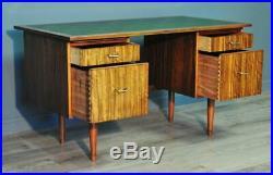 Vintage Retro Morris of Glasgow Cumbrea Walnut Twin Pedestal Office Writing Desk