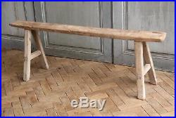 Vintage Rustic Folky Elm Wooden Bench