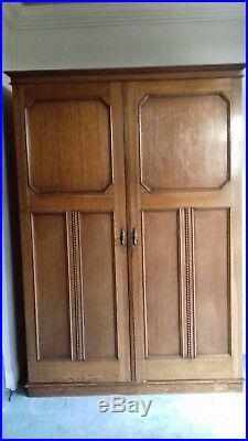 Vintage Solid Oak Wood Gentlemans Wardrobe