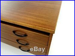 Vintage Teak Plan Chest of Drawers Artists Map Table Mid Century