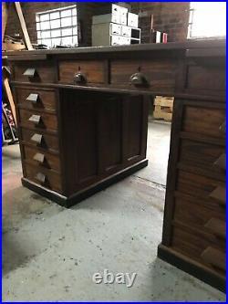 Vintage Twin Pedestal Mid Century Wooden Office Desk Maker Venesta