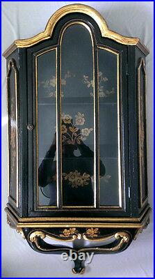 Vintage Victorian Hanging Vitrine Cabinet Glass Display Black Lacquer Gold