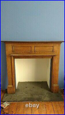 Vintage Victorian or Edwardian oak wood fireplace surround