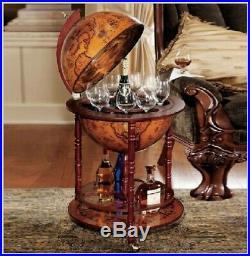Vintage Wine Bar Antique Globe Drinks Minibar Trolley Cabinet Birthday Gift
