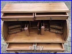 Vintage Wood Roll Top Bureau Writing Desk/Cabinet