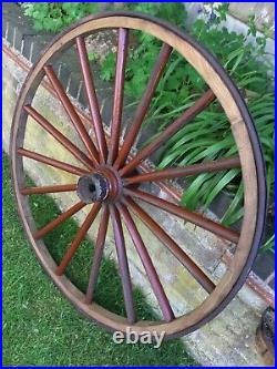 Vintage Wooden Large Cart Wheel Old Wagon Carriage Antique Garden Architectural
