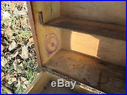 Vintage Wooden Medicine Apothecary Wall Cabinet Glass mirror Drawer Pediment