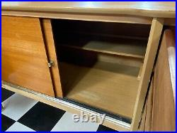 Vintage mid century light oak / teak wideboy dressing table Delivery Available