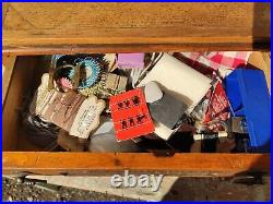 Vintage oak Haberdashery advertising cabinet and contents. Needles and co