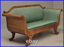 Vintage retro antique 1800s mahogany wood rococo Danish sofa green re upholstery