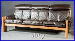 Vintage retro antique Danish brown leather mid century chair solid oak armchair