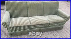 Vintage retro antique art deco mid century Danish 3 seat sofa couch green velvet
